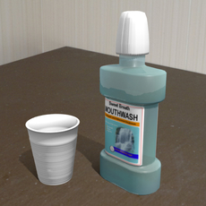 Mouthwash And Plastic Cup 3D Model