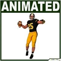 White American Football Player Hi-poly 3D Model