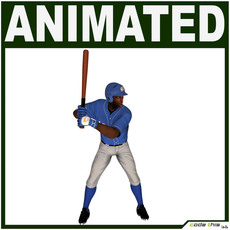 Black Baseball Player Hi-poly (BATTER) 3D Model