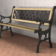 Garden Bench - Low Poly 3D Model