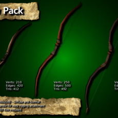 Medieval Bow Pack 3D Model