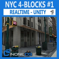 NYC 4 Blocks Unity Set1 3D Model