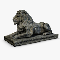 Low poly Stone Lion sitting 3D Model