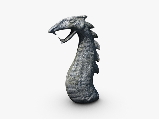Low poly stone serpent head 3D Model