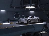 Alfa 4C + garage 3D Model