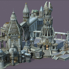 Ancient City with Tower 3D Model