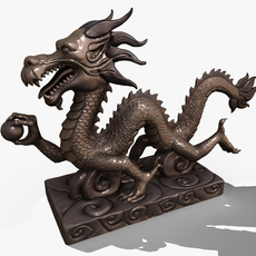 Asian Chinese Dragon Statue 3D Model