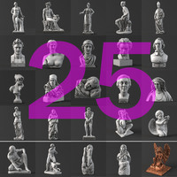 50 Sculpture collection 3D Model