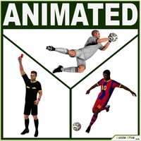 Soccer Players and Referee 3D Model