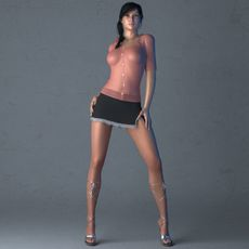 Realistic Brunette Sexy Woman Posed 3D Model
