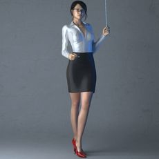 Realistic sexy posed brunette office or teacher woman 3D Model