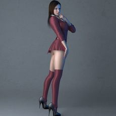 Sexy posed brunette girl in skirt and panty hose 3D Model