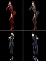 Realistic sexy posed brunette woman in multiple outfits vinyl and lingerie 3D Model