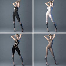 Sexy posed blonde lady in 4 sexy outfits 3D Model