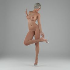Sexy posed nude blonde lady 4 3D Model