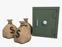 Safe And Sacks Of Money 3D Model