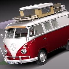 Volkswagen Camper Van 1950 Open 3D Model