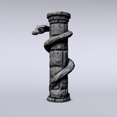 Serpent stone column 3D Model