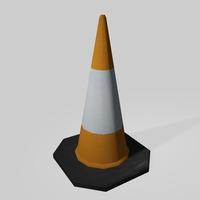 Free Low Poly Road Traffic Cone 3D Model