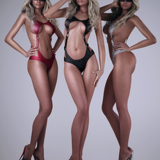 Realistic darker skin sexy blonde girl wearing 3 different sexy bikinis - 3 poses 3D Model