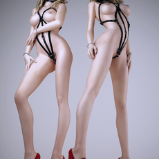 Realistic blonde woman wearing bdsm style bikini and mask - 3 poses 3D Model