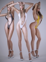 Realistic blonde sexy woman wearing 1 piece sexy bikini - 3 poses 3D Model