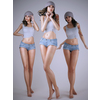 Realistic brunette girl wearing cut off jean shorts crop top and tattoo - 3 poses 3D Model