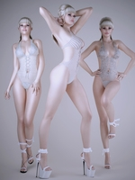 Realistic light haired sexy girl wearing lace lingerie - 3 poses 3D Model