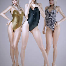 Realistic white haired or blonde sexy woman wearing 3 1 piece bikini - 3 poses 3D Model