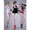 Realistic blonde woman wearing nurse lingerie outfits - 3 poses, 3 outfits 3D Model
