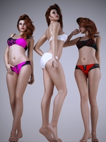 Realistic redhead woman wearing sexy lingerie - 3 poses 3D Model