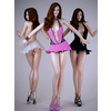 Realistic sexy redhead wearing sexy mini skirt and high heels - 3 poses 3D Model