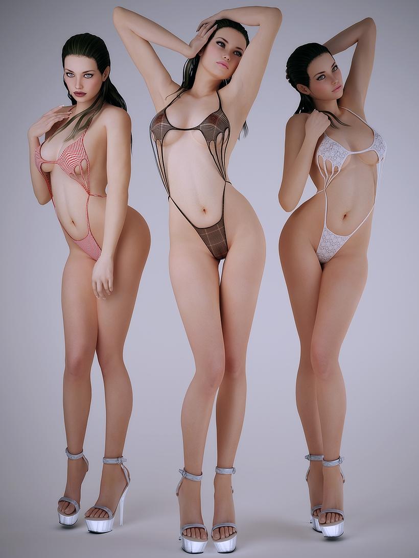 Realistic sexy brunette in sexy one piece bikini - 3 poses 3D Model
