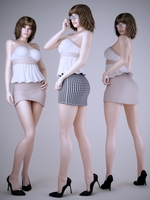 Realistic short haired brunette in 3 poses wearing sexy mini skirt 3D Model