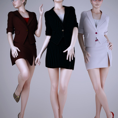 Realistic brunette and blonde 3 positions wearing short sexy work dress 3D Model