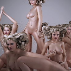 Realistic blonde nude woman with modern artistic hair in 9 artistic poses 3D Model