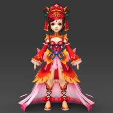Cartoon Character Queen Bandi 3D Model