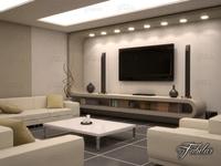 Living room 10 Night 3D Model