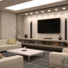 Living room 10 Night 3D Model
