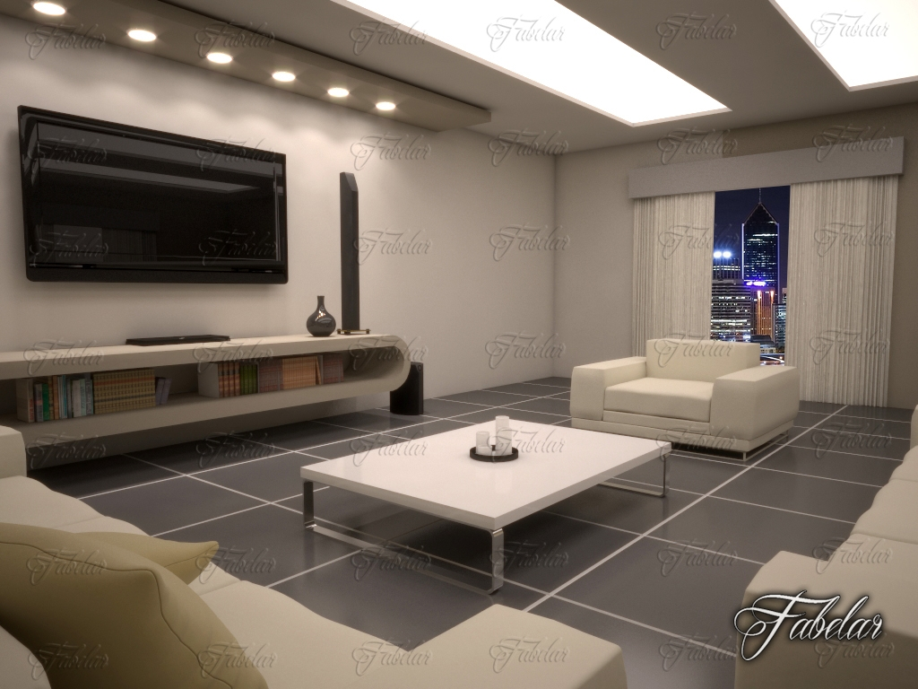 Living room 10 night 3d model for Living room cinema 4d