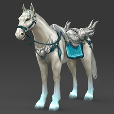 White Warrior Horse 3D Model