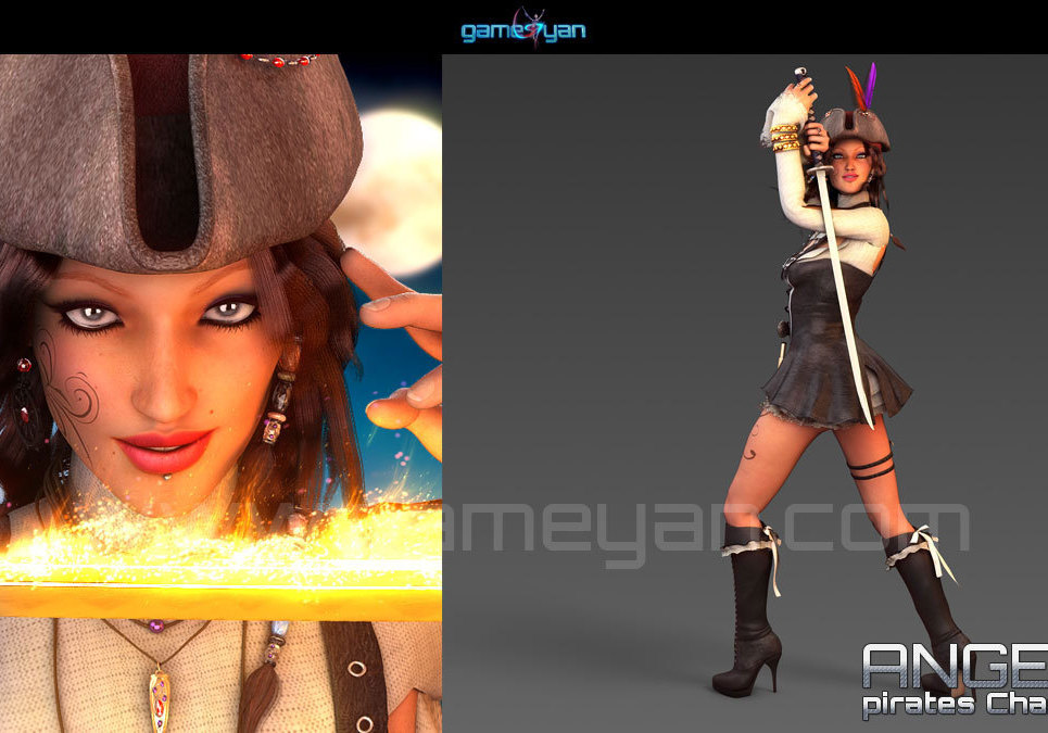 3d woman pirates character rigging show