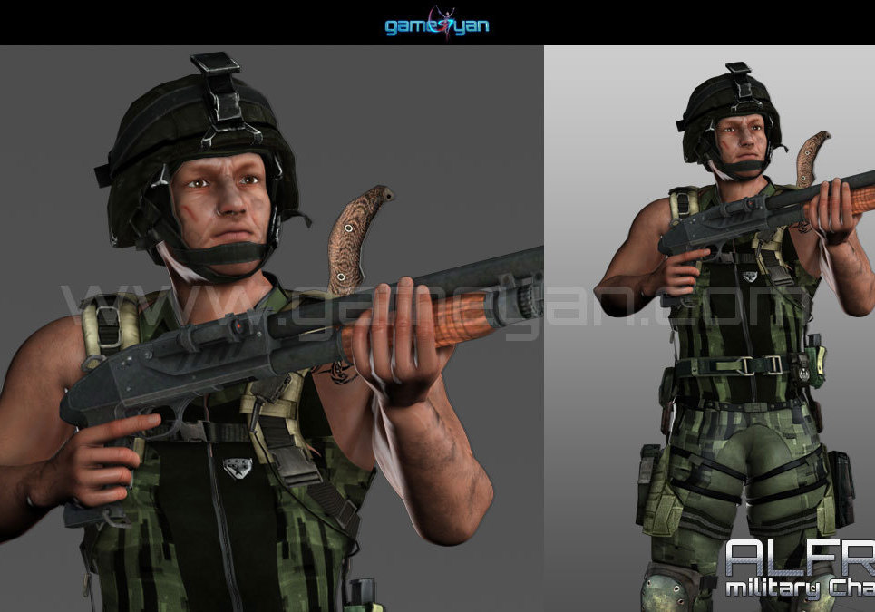 3d military mascot character show