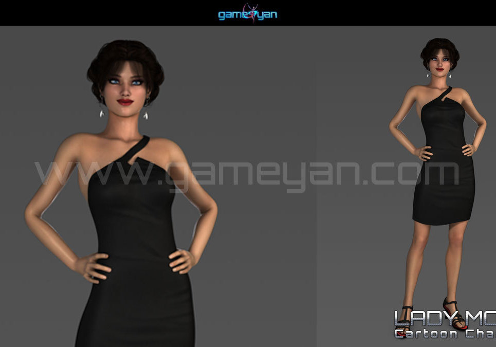 3d young woman cartoon character modeling show