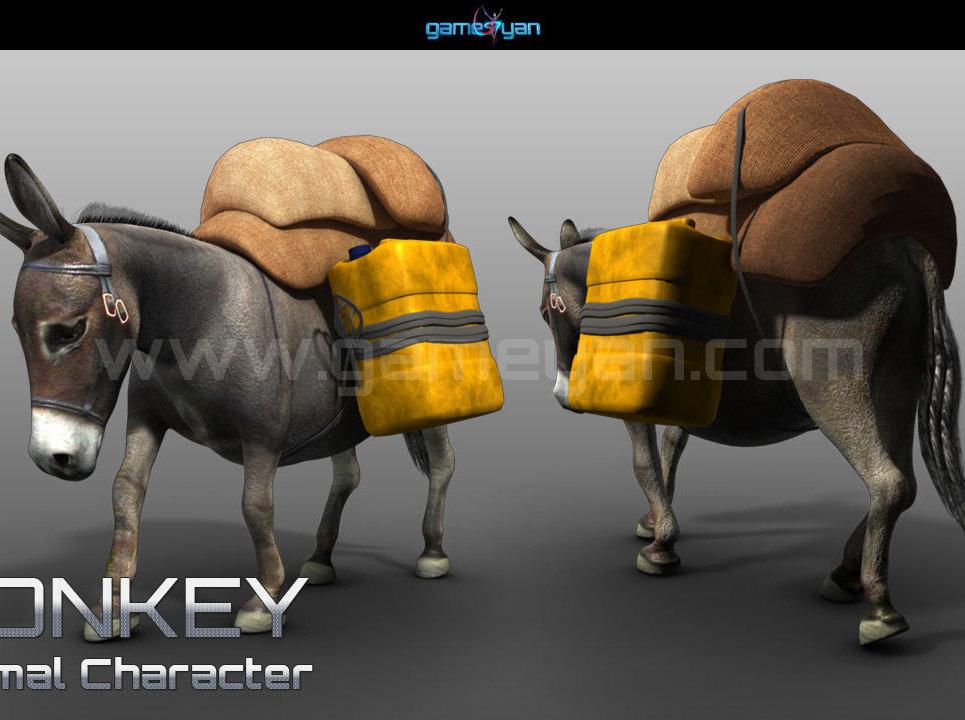 3d donkey animal character animation show