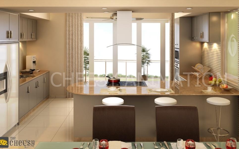 3d architectural kitchen render show