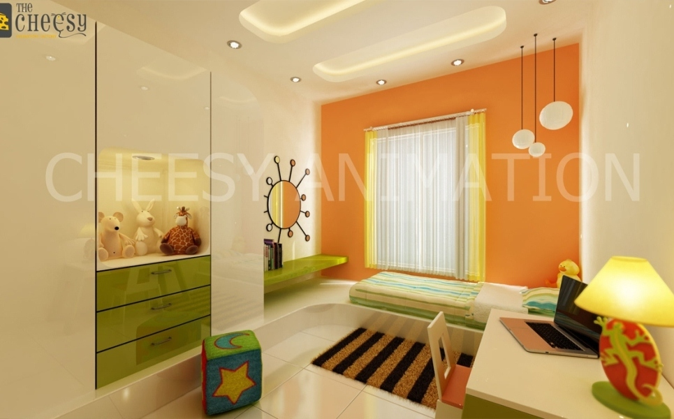 3d interior rendering childrenroom show