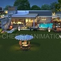 3d exterior villa semi arial view cover
