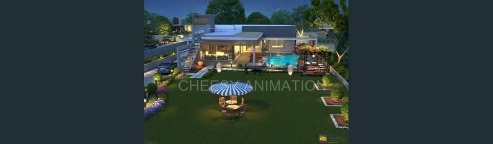 3d exterior villa semi arial view show