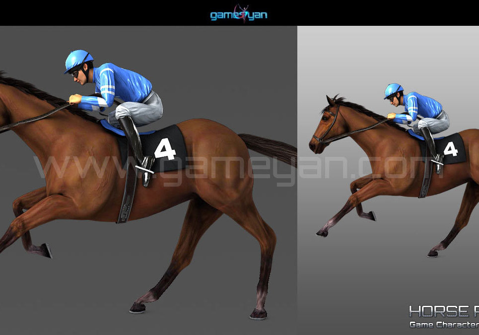3d horse rider game character modeling show
